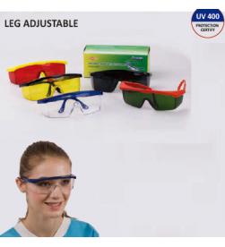 Safety Glasses Leg Adjustable,clear lens, blue leg