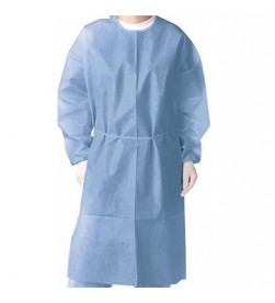 ISOLATION GOWN LARGE, KNIT CUFF, BLUE